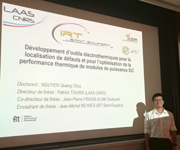 Quang Chuc Nguyen defended his thesis on development of electrothermal tools for defects location and thermal performance optimisation of SiC power modules