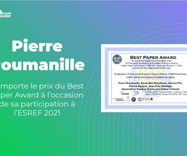 Pierre Roumanille remporte le prix du Best Paper Award à l'occasion de sa participation à l'ESREF 2021